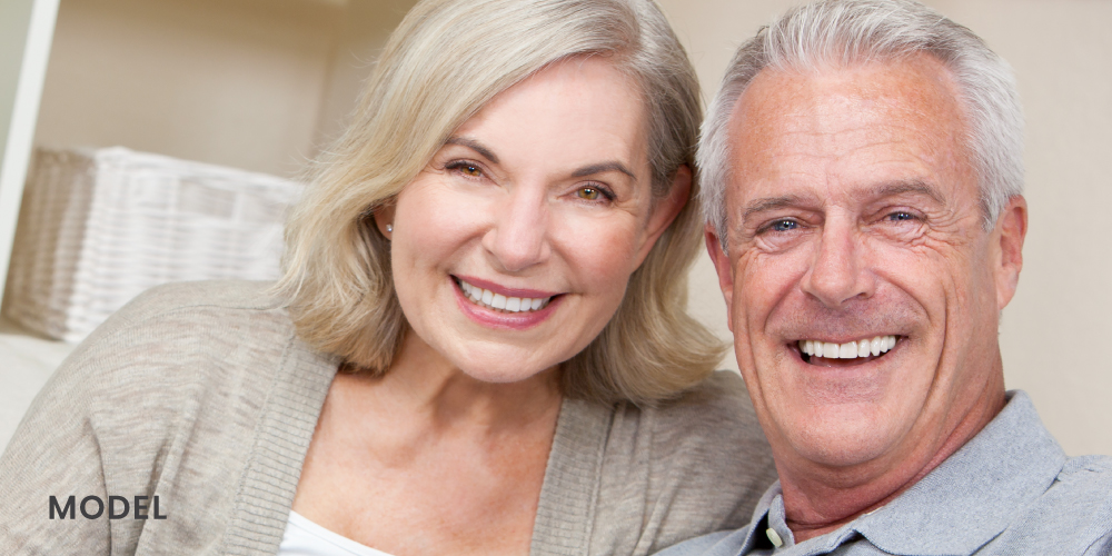 Older Couple Smiling Showing Straight Full Set of Teeth