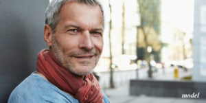 Mature Male Model in Red Scarf