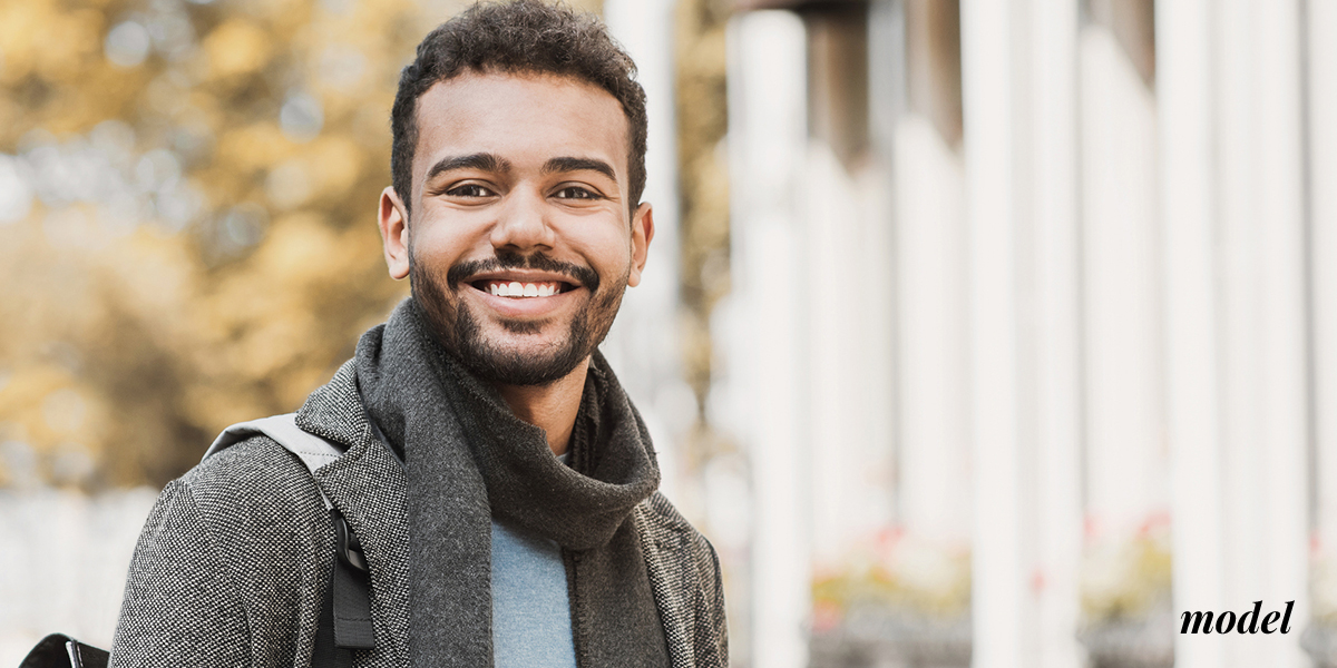 Smiling African American Model Standing Outdoors